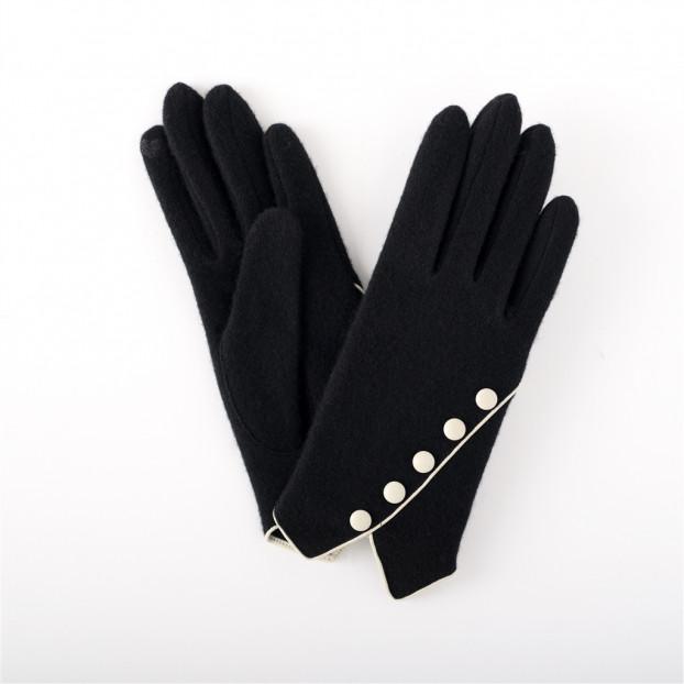 gant maille ( tactile) avec 5 boutons en diagonales 121 noir-blanc