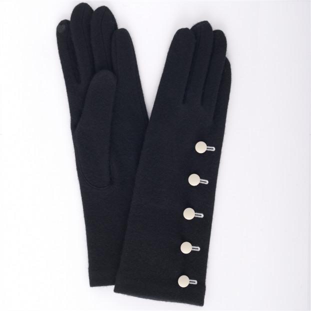 gant maille  mi-long 5 boutons (tactile) 121 noir-blanc