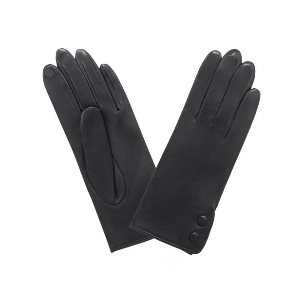 gant cuir ouvert côté 2 boutons pressions Noir