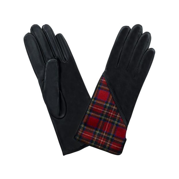 gant cuir jacquard Noir